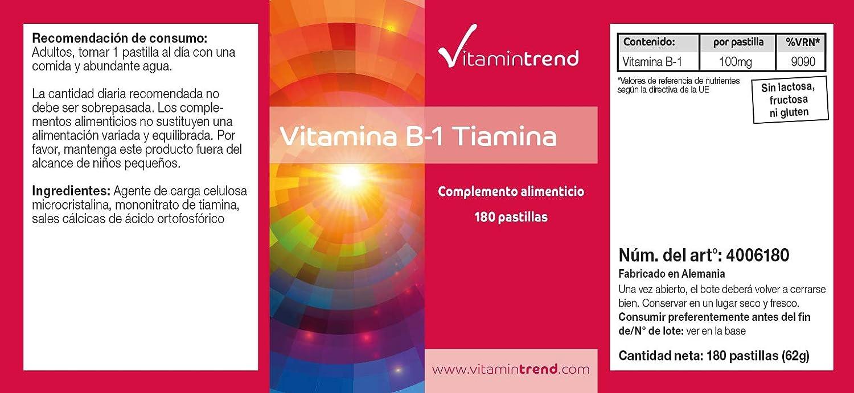 Vitamina B1 100mg -Bote para ¡6 MESES! - 180 tabletas de vitamina B - altas dosis de tiamina - para el metabolismo, energía.: Amazon.es: Salud y cuidado ...