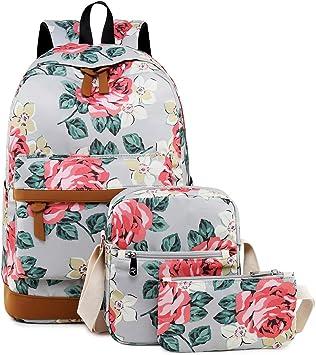 Ladies Backpack Schoolbag with Flowers Hand Luggage A4 Laptop Waterproof Grey