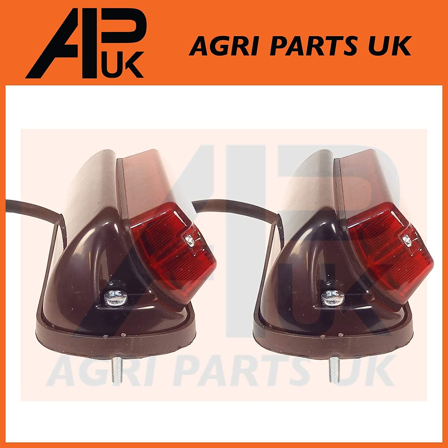 APUK PAIR of Rear Side Light Lamp Square Fender Plastic Compatible with Leyland Nuffield 345 465 Tractor