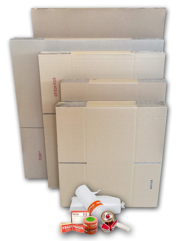 Cajas carton para mudanzas (Pack EXTRA GRANDE de 40 cajas + accesorios) - Cajas de canal simple, doble y de color marrón. Fabricadas en España.
