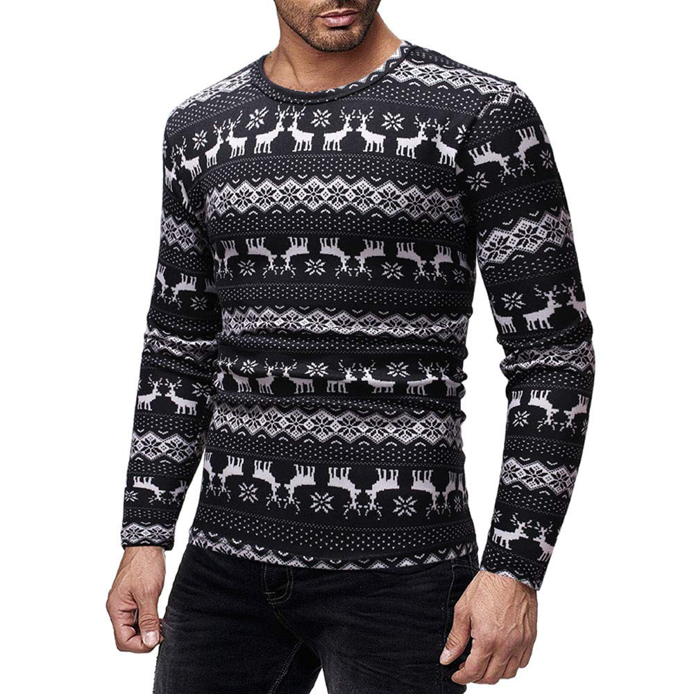 Men's Men's Ugly Christmas Holiday Reindeer Snowflake Sweater Cute Pullover Sweater (M, Black)