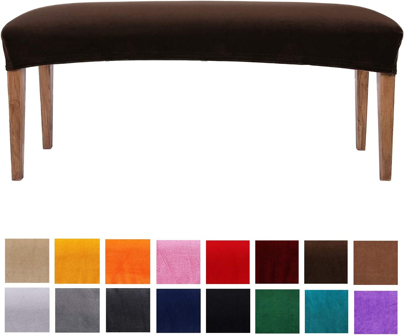 smiry Velvet Dining Bench Cover - Soft Stretch Dining Room Bench Slipcovers Protector, Machine Washable, Snug Fit, Coffee