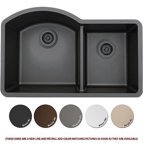Attractive Lexicon Platinum Quartz Composite Kitchen Sink   Large Offset Double Bowl  (LP 7030 Concrete