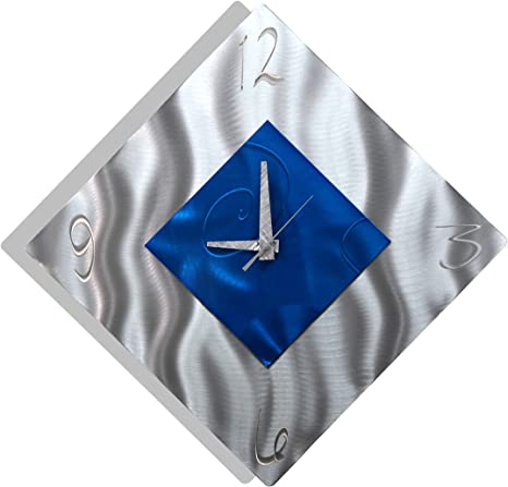 Amazon Com Blue Metal Decorative Wall Clock Abstract Modern Clock For Living Room Or Kitchen Jon Allen Metal Art Spare Moment Clock Kitchen Dining