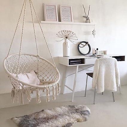 Amazon Com Beige Hanging Cotton Rope Macrame Hammock Chair Swing