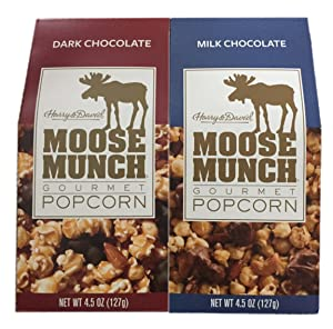 Harry & David Moose Munch Gourmet Popcorn: Dark Chocolate & Milk Chocolate 4.5 oz Package Bundle