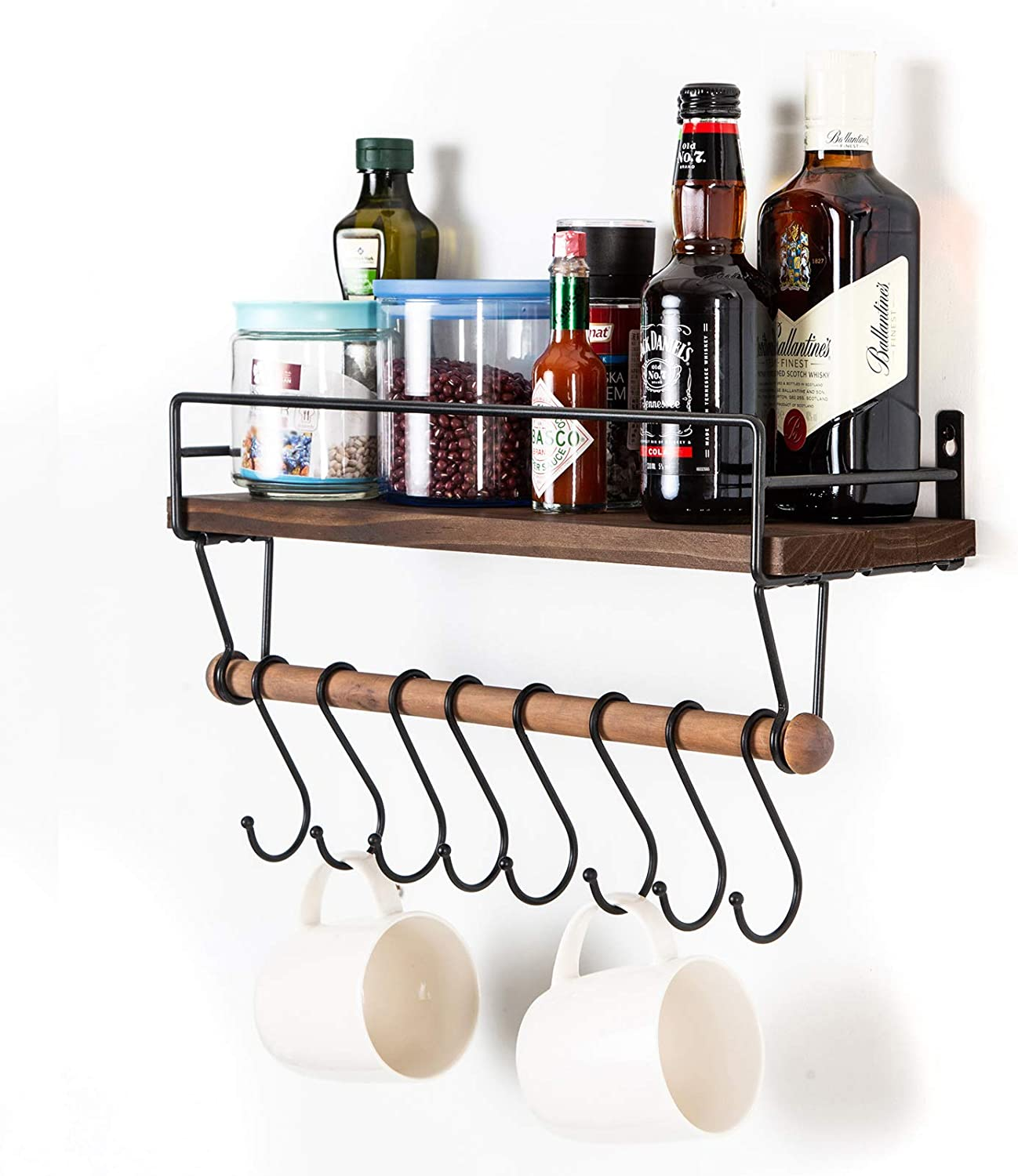 SODUKU Floating Shelf Wall Shelf for Storage Rustic Wood Kitchen Spice Rack and Bathroom Shelf with Rail and Removable Towel Bar and 8 Hooks Brown