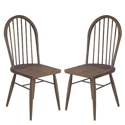 Amazon Com Mercana Hardwood Set Of 2 Dining Chair With Walnut