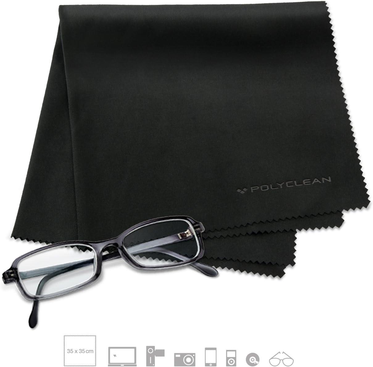 Polyclean Chiffons en microfibre//chiffon pour verre Iphone ordinateur portable Samsung smartphone avec /écran tactile Lunettes de lunettes de ordinateur portable 6 S Ipad tablette noir MacBook LCD///écran LED appareil photo Objectif