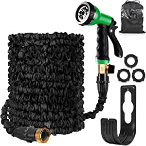 Garden Hose Expandable Hose Pipe 100FT Flexible and Expanding Garden Water Hosepipe With Brass Fittings/8 Function Spray Nozzle/Hose Hanger-For Garden, Watering, Cleaning (100FT Garden Hose, Black)