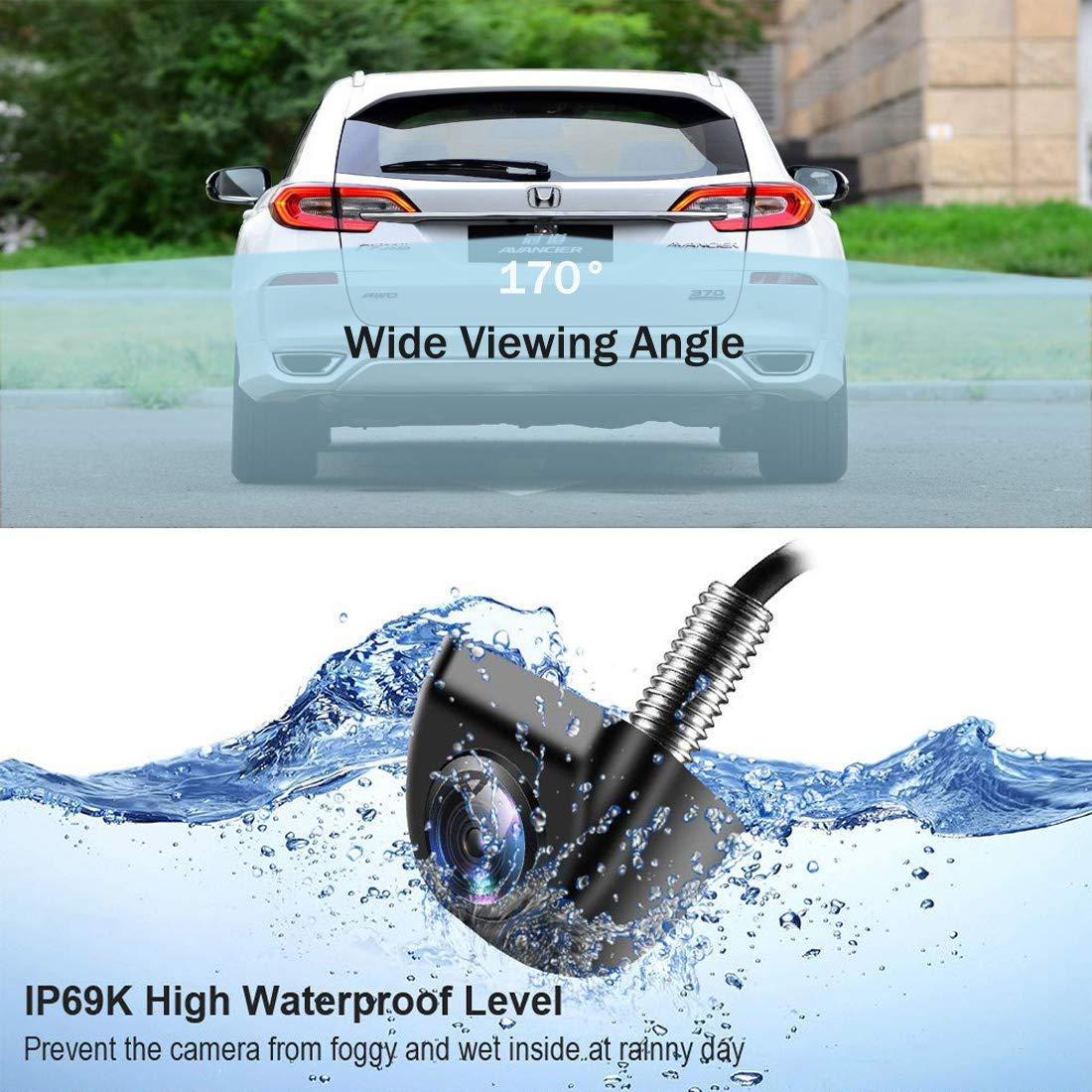 Car Backup Camera VoWinUS HD Super Wide Viewing Angle Night Vision Metal IP69K Waterproof Car Auto Rear View Camera Parking Camera for Car Truck RV Mini-Van