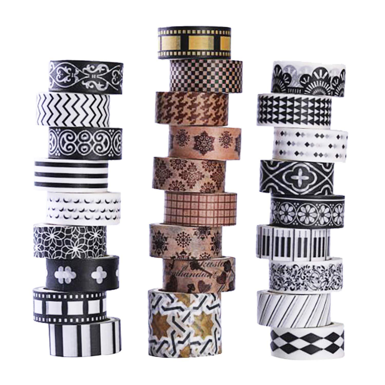 Cinta Washi adhesivas, 27 rollos, diseños decorativos