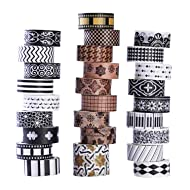 27 Rolls Washi Tape Set, DIY Gift Wrapping Scrapbooking and Craft, Sticky Adhesive Paper Masking Tape with Lovely Printed Patterns and Long-Lasting Colors