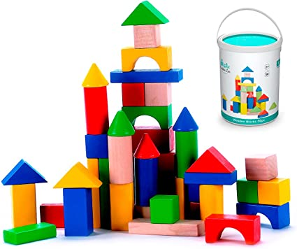 Classic Build /& Play Toy Cubbie Lee Premium Wooden Building Blocks Set Classic Hardwood Plain /& Colored Small Wood Block Pieces for Boys /& Girls 100 pc for Toddlers Preschool Age