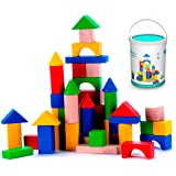 Classic Wooden Building Blocks Set - 50 Pieces - for Toddlers Preschool Age Kids - Hardwood Plain & Colored Small Wood Blocks for Boys & Girls - Basic Educational Build & Play Stacking Toy