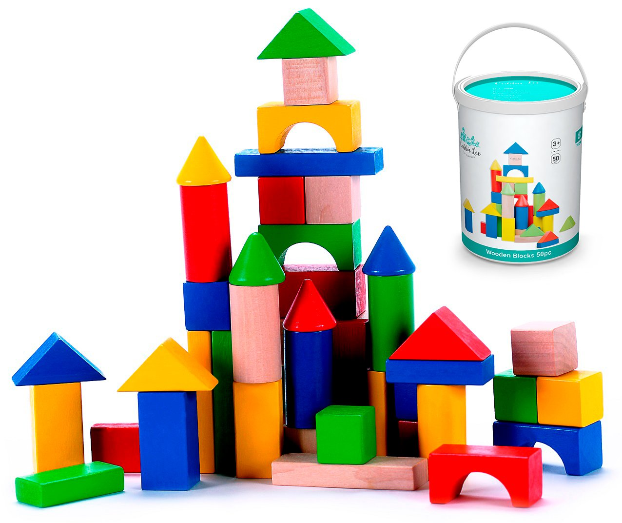 Cubbie Lee 50 pc Classic Wooden Building Blocks Set w/ Storage Bucket - for 3, 4, 5 Year Preschool Age Kids - Hardwood Colorful Safe Wood Blocks for Boys & Girls - Basic Build & Play Stacking Toy