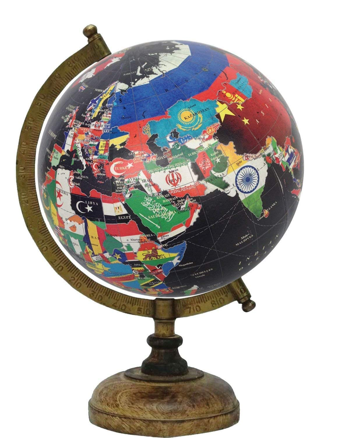 8-inch Educational Antique Globe with Brass Arc and Wooden Base By Globes Hub-Perfect for Home, Office & Classroom