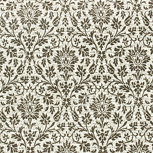 HaokHome 631394 Distressed Damask Peel and Stick Wallpaper Black/Cream Self Adhesive Contact Paper (Distressed Damask Wallpaper)