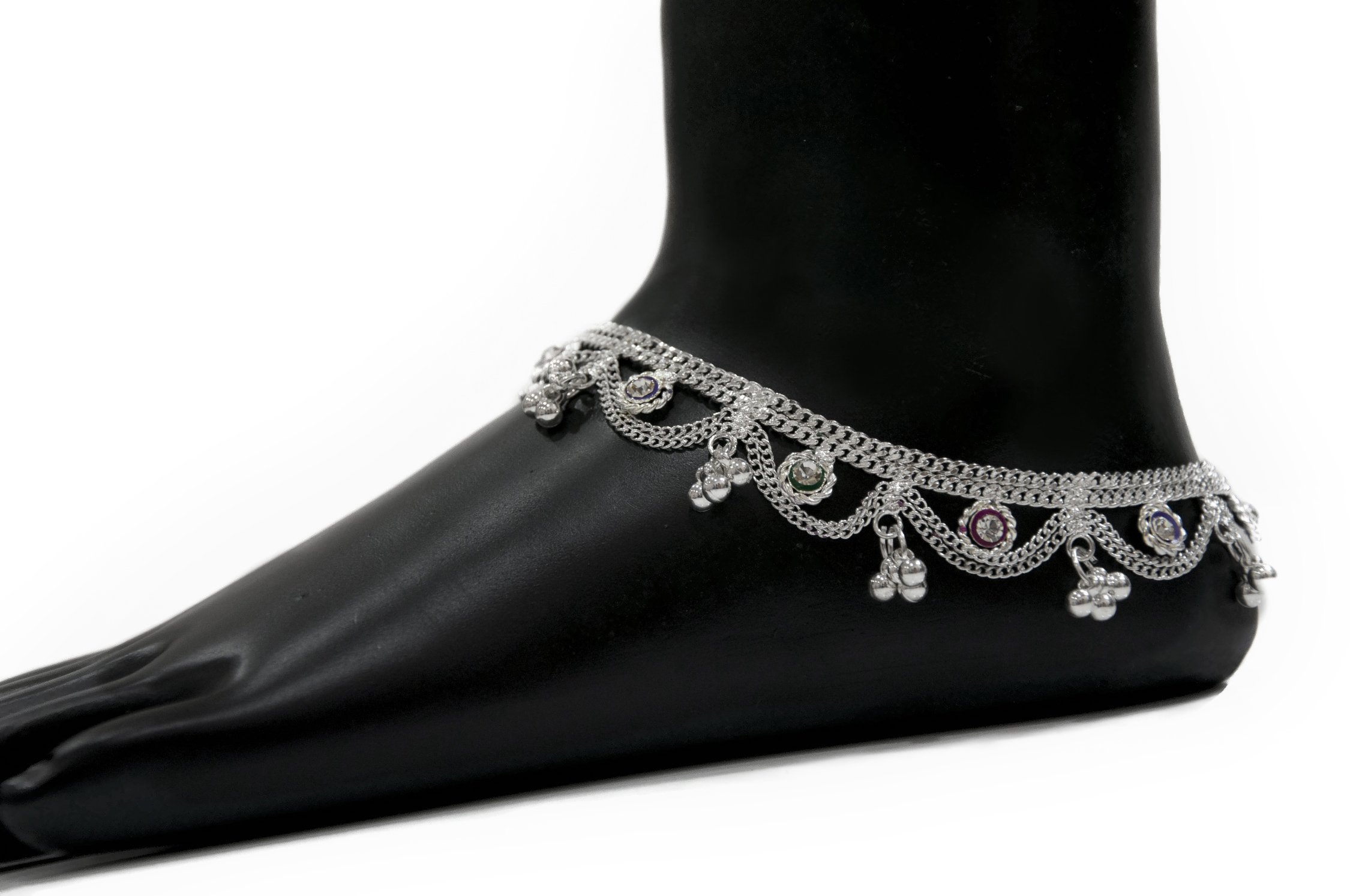 pair Indian anklet jewelry, ankle jewelry, plated silver anklet, foot chain, hippie anklet faux diamond anklet pair