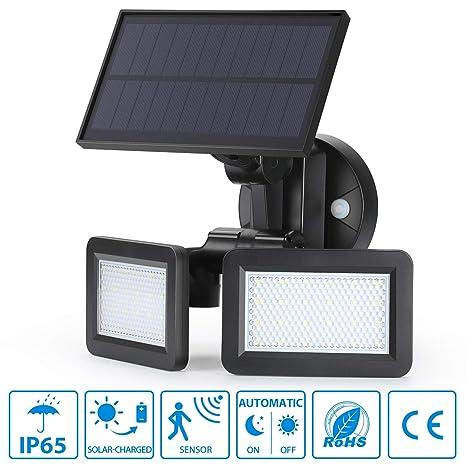 oeegoo LED Foco Lámpara Solar para exterior con detector de movimiento, 48 LED superhelles Solar