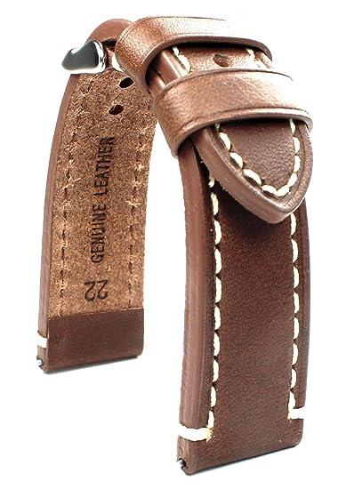 Banda de cuero 22 mm banda catal onia Planeador Relojes Retro Strap Brown/marrón: Amazon.es: Relojes
