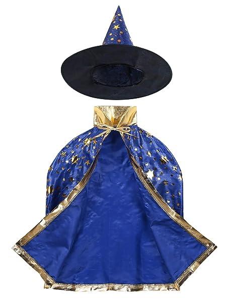 YiZYiF Disfraz Mago Niñas Niños Capa Bruja con Sombrero Traje ...