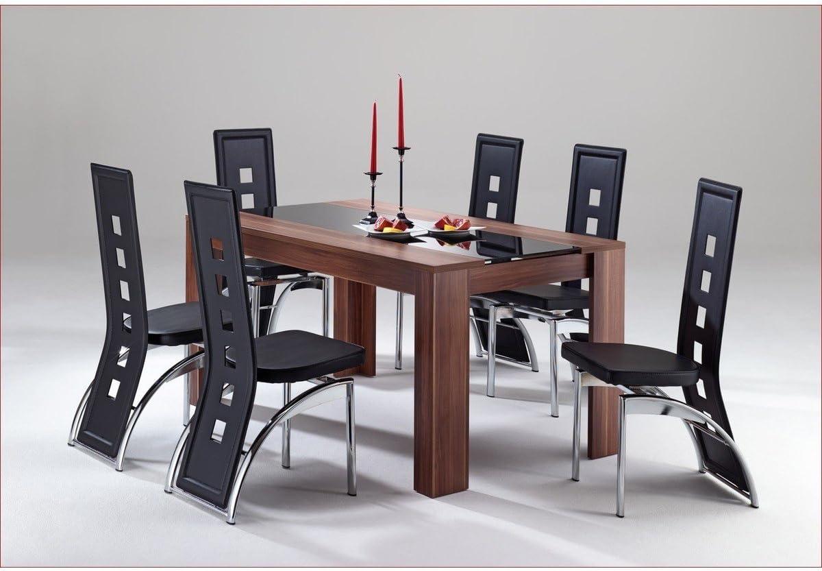 DESIGN 44 x 44 ESSTISCH Esszimmertisch Tisch walnuss Glas schwarz - WIRD  OHNE STÜHLE GELIEFERT 44