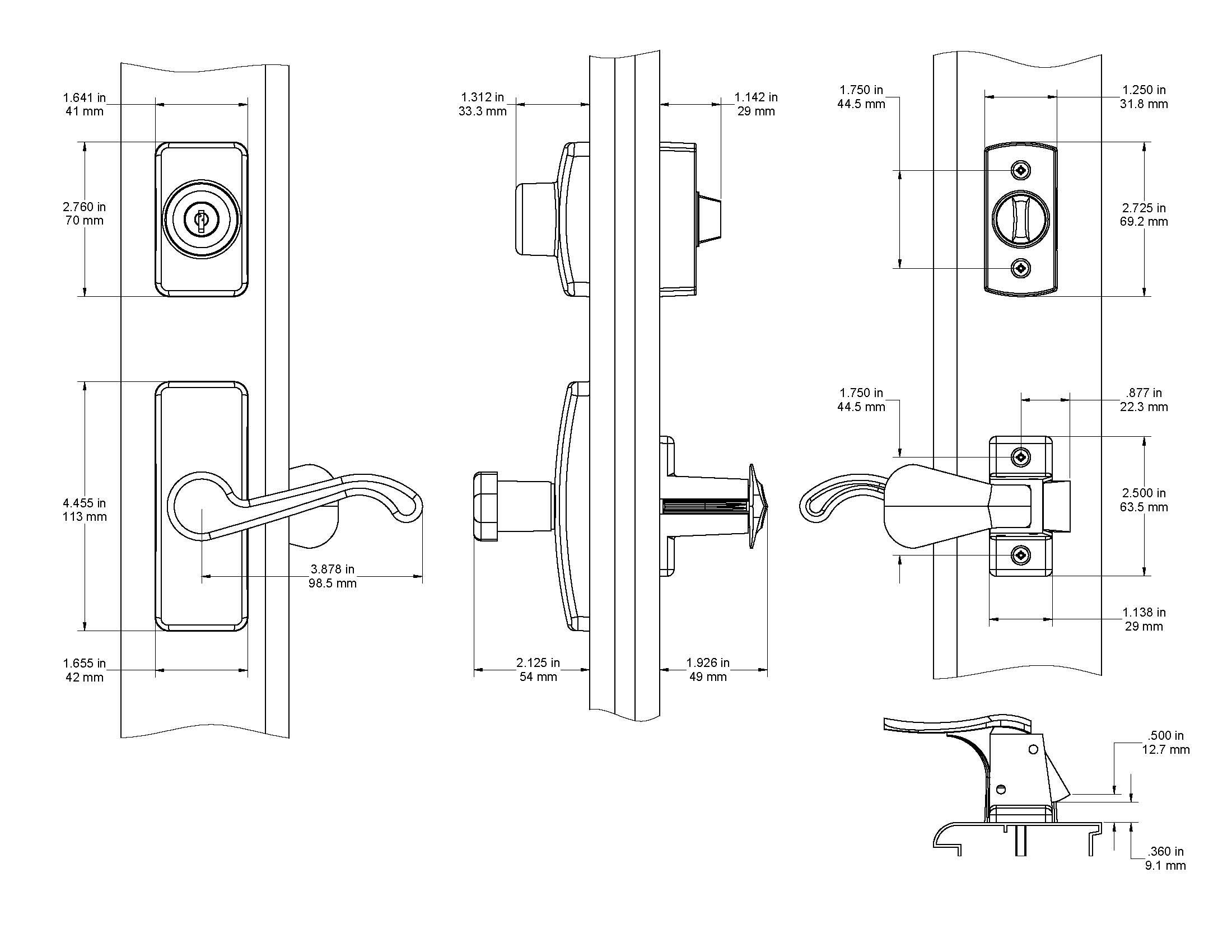 Storm Screen Door Lock Latch Lever Handle Keyed Deadbolt
