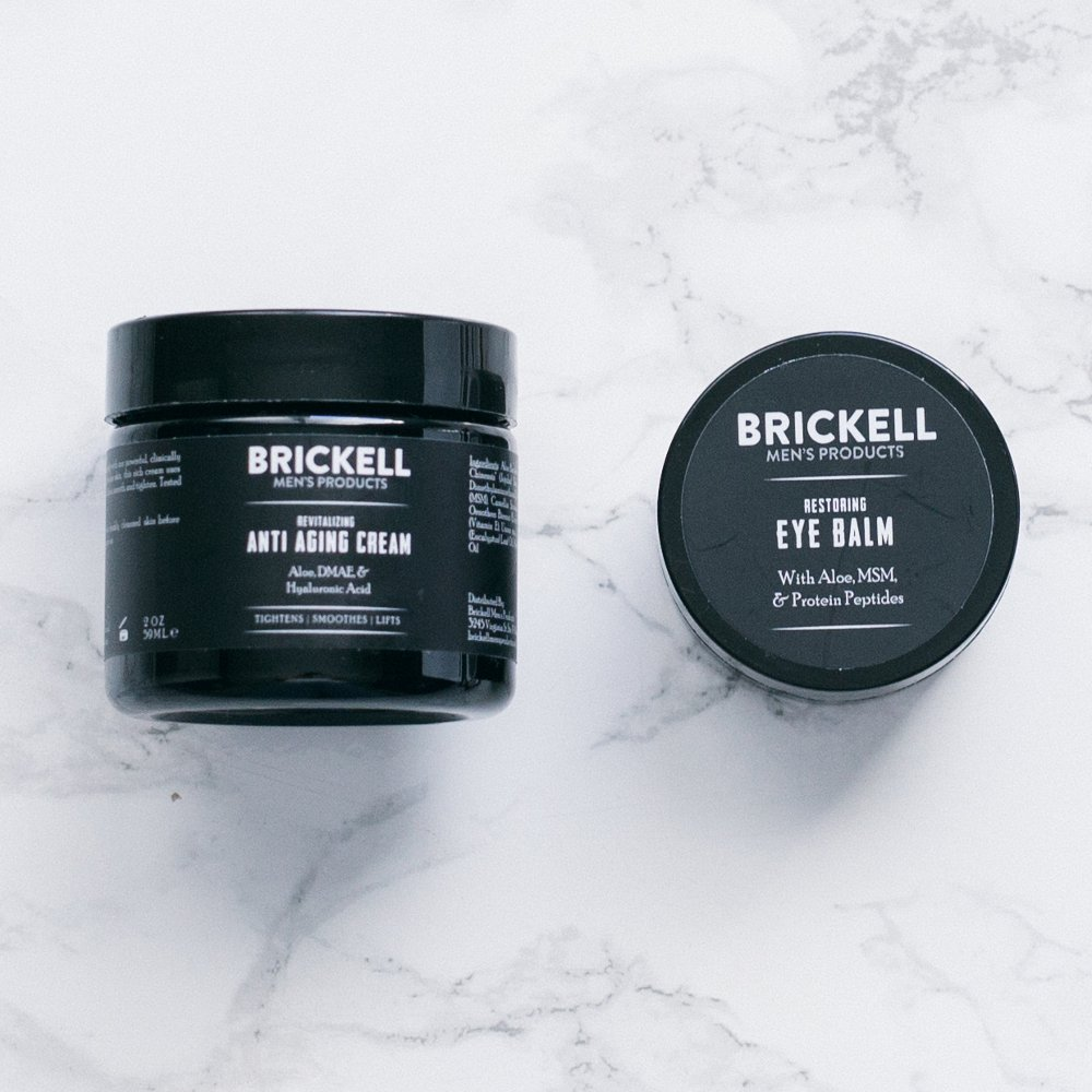 Brickell Men's Ultimate Anti-Aging Routine - Anti-Wrinkle Night Face Cream and Eye Cream to Reduce Puffiness, Wrinkles, Dark Circles, Under Eye Bags - Natural & Organic (Scented) by Brickell Men's Products (Image #3)