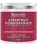 Pomegranate Brightening Face & Body Scrub, by Buena Skin — Renews Your Skin's Youthful Radiance | Great For Dry Skin, Age Spots, Hyperpigmentation, Acne Flare-Ups and Acne Scars 10 oz