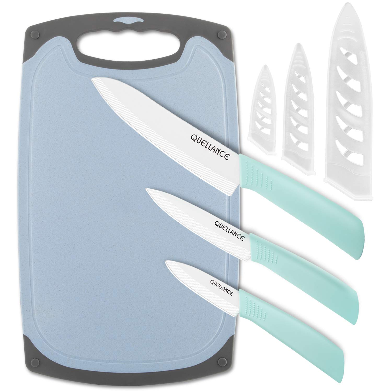 Ceramic Knife Set, Kitchen Knives with Matching Sheath Covers and Cutting Board, Very Sharp Ceramic Chef Knife, 6'' Chef Knife, 4'' Utility Knife, 3'' Paring Knife and 1 Rectangle Chopping Board by QUELLANCE