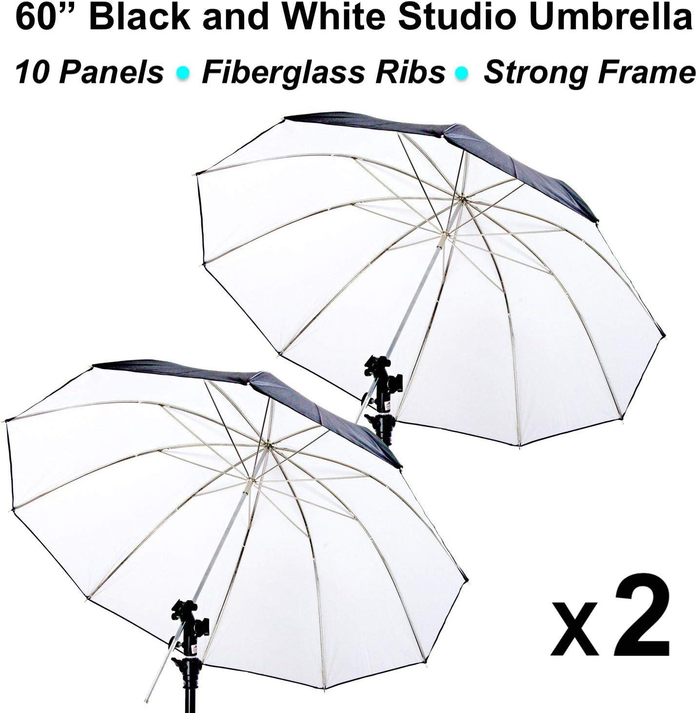 2 x 60 Black//White Reflective Photo Studio Umbrella 10 Panels Fiberglass Ribs00