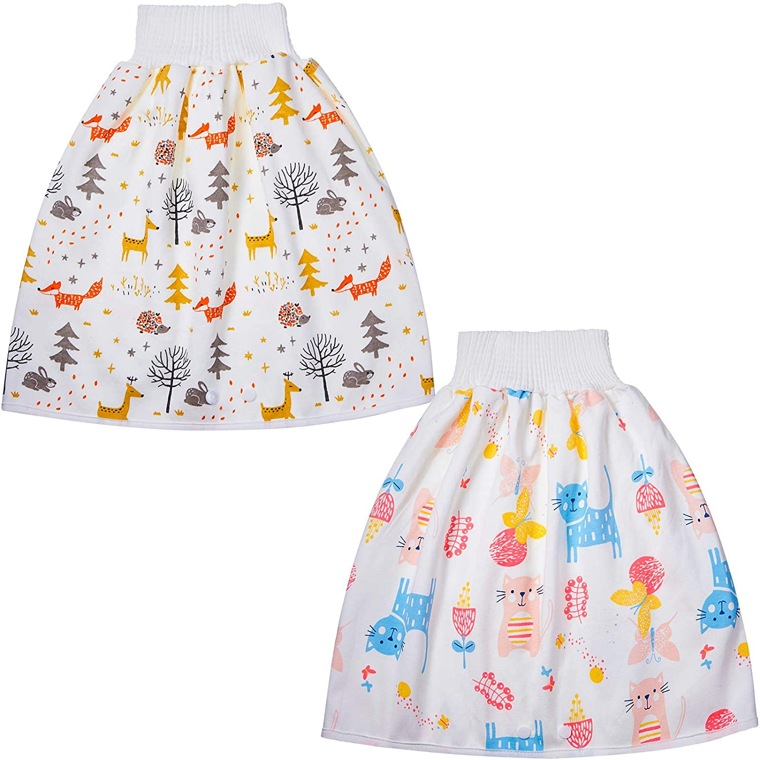 2 Pieces Baby Diaper Skirts Cotton Children Diaper Skirt Shorts Baby Potty Training Skirts Kids Waterproof Clothes Diaper Skirt for Baby Boy Girl Night Time Sleeping
