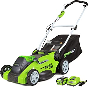 """Greenworks G-MAX 40V 16"""" Cordless Lawn Mower with 4Ah Battery – 25322 model"""