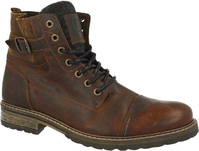 BULLBOXER Herren Stiefel 285K84158,Männer Boots,Lederstiefel,Schnürstiefel,Combat,Chukka,Blockabsatz