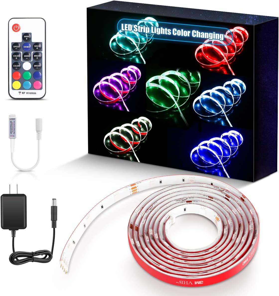 PryEU RGB LED Light Strips Waterproof 8M/8.58FT Color Changing with RF  Remote Control and 18V Adapter for Room Bedroom Kitchen Under Cabinet  Lighting