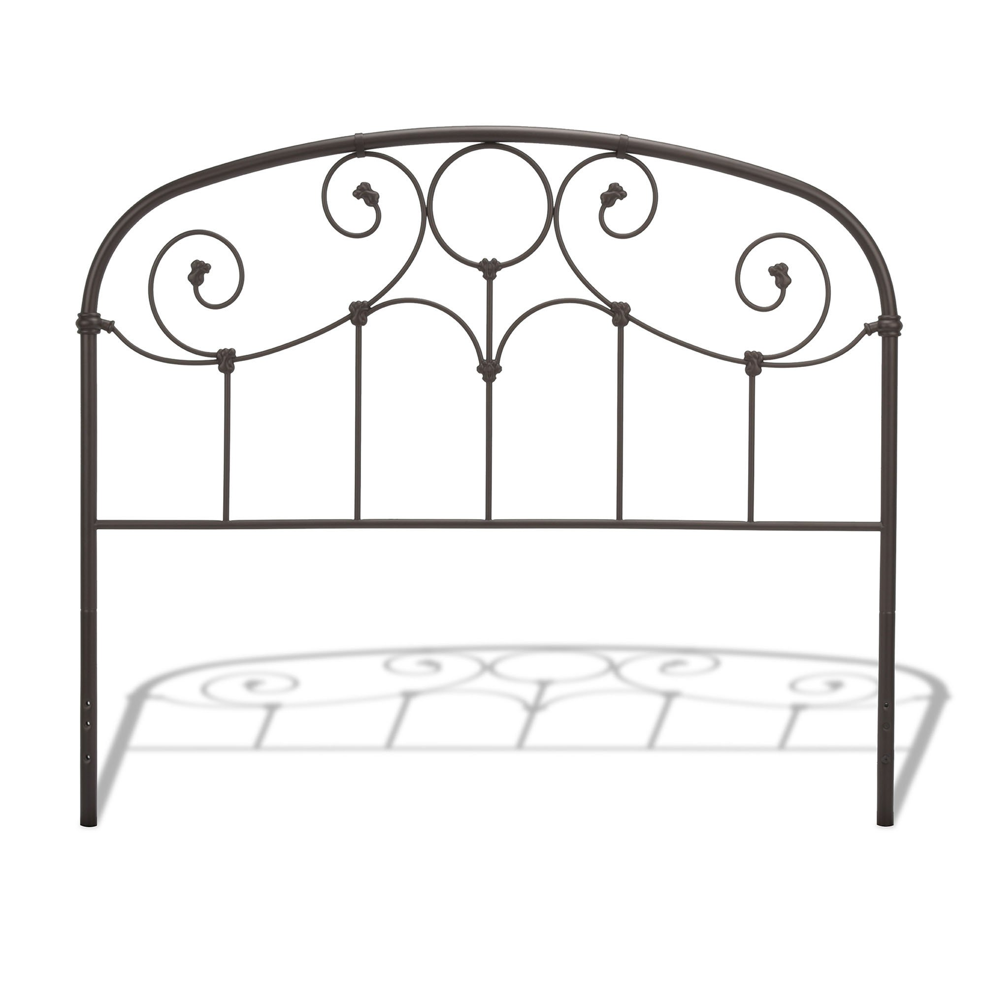 Grafton Metal Headboard with Scrollwork Design and Decorative Castings, Rusty Gold Finish, Queen