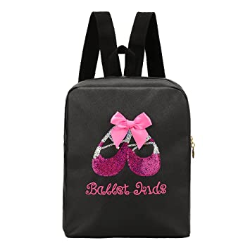 VILLAVIVI Bolsos de ballet Deportes Bolsa de danza para Niñas mayores (Negro  con arco rosado c55bbb6add185