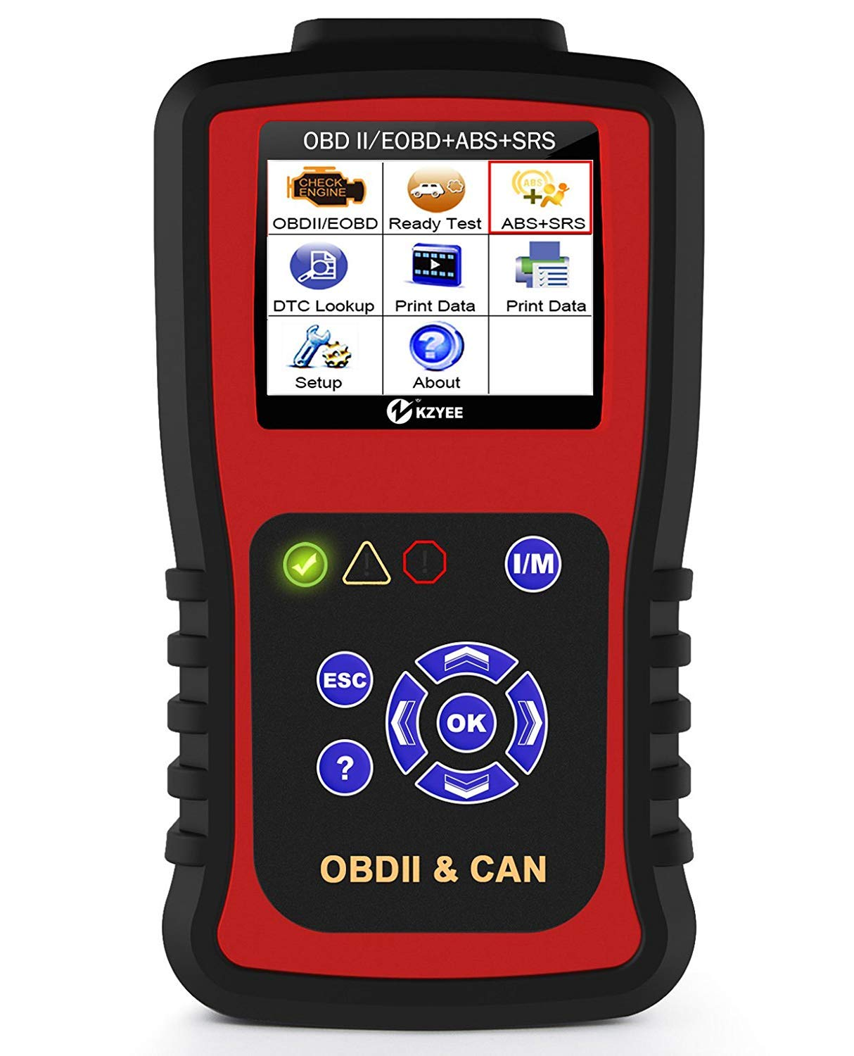 Kzyee KC501 Auto OBD2 Airbag Code Reader, ABS SRS Scanner Car Check Engine Light Diagnostic Scan Tool with Live Data/Emission Monitor Status/O2 Sensor Data/Mode 6