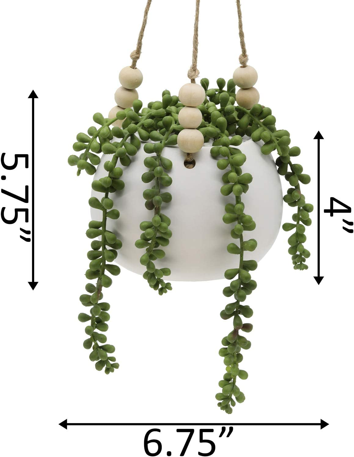Macrame Plant Hanger SAGE AND PEARL 4 TAN BEADS