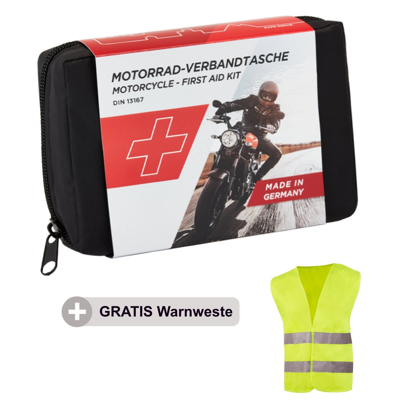 Golab Motorcycle First Aid Kit  –   Small and Compact HSE First Aid Kit DIN 13167  including Warning Vest Fits All European Countries (Austria Switzerland Italy, Germany etc.)