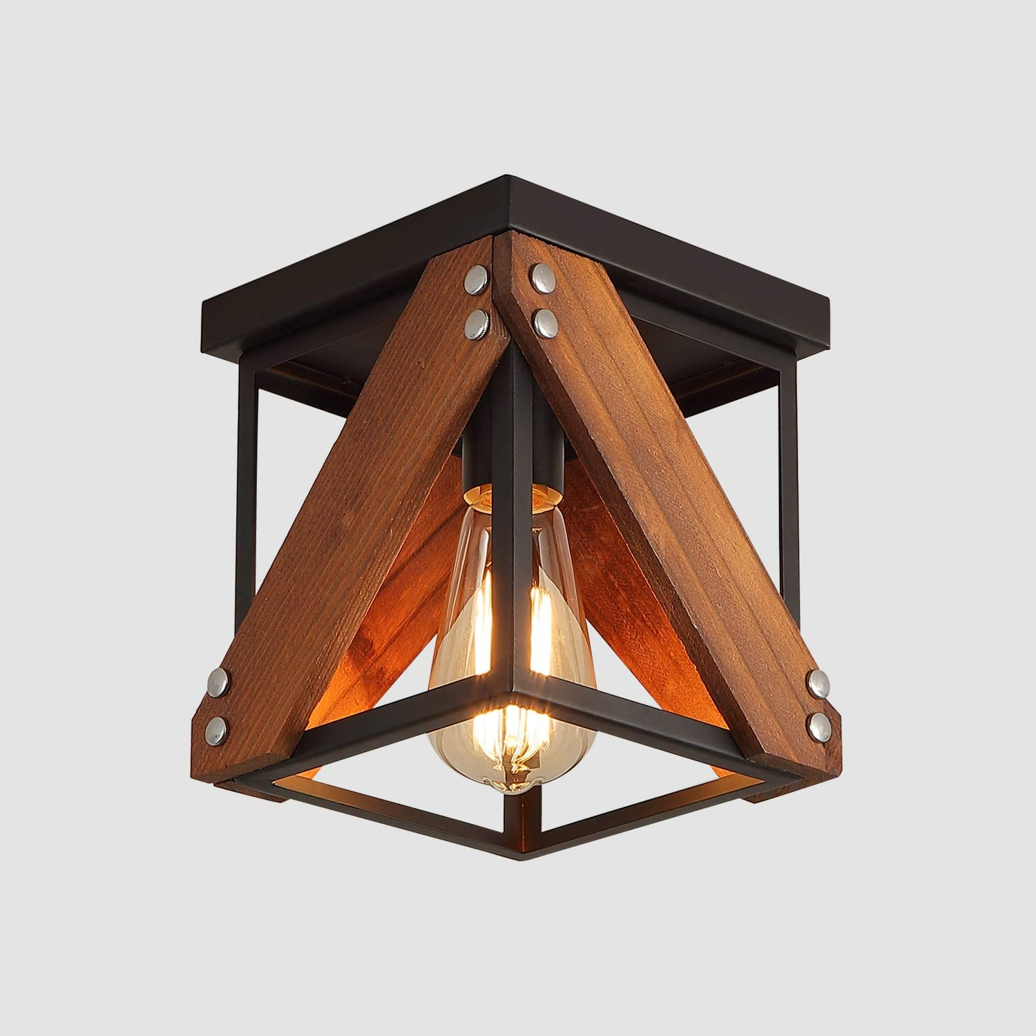 Rustic Industrial Flush Mount Ceiling Light 1 Light Metal And Wood Cage Mini Semi Flush Mount Light Fixture For Hallway Kitchen Entryway Black Amazon Ca Tools Home Improvement