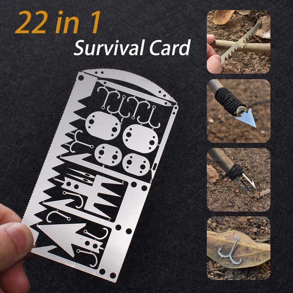 Herramientas de supervivencia para acampar al aire libre Suministros de tarjetas 22 en uno Herramienta de supervivencia multifuncional Equipo de pesca Tarjeta de gancho Equipo de supervivencia Tarjeta