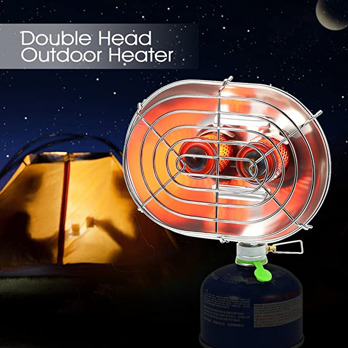 Amazon.com : Double Head Outdoor Heater Portable Infrared Ray Camping Heating Stove Warmer Heating Gas Stove : Sports & Outdoors