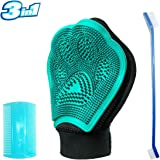 Pet Hair Remover Mitt,Pet Grooming Glove,Deshedding Glove Dog&Cat Deshedding Brush Glove Grooming Kit for Pets Washing Deshedding Massage with Teethbrush and Comb (3-in-1)