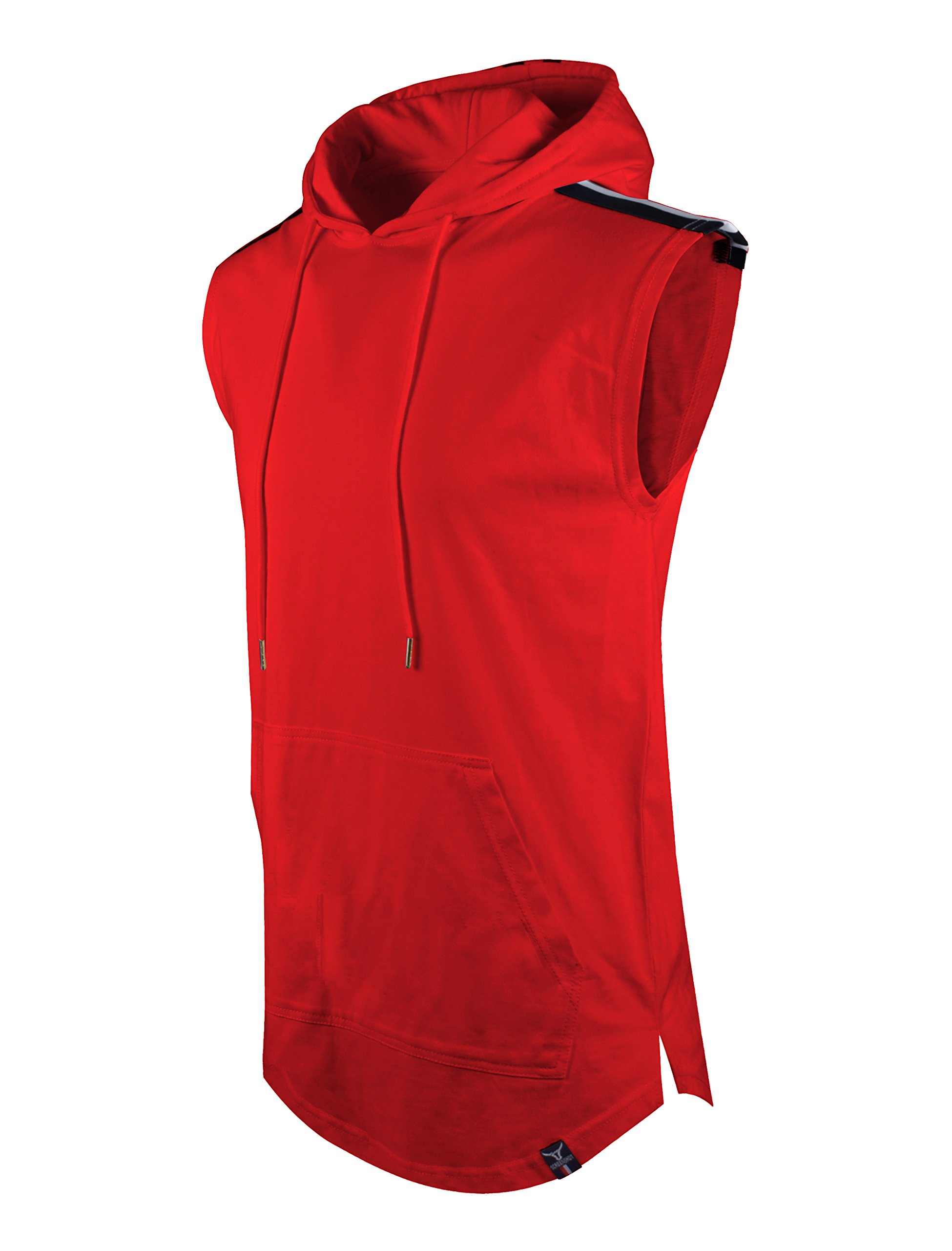 MOKEWEN Mens Back Zipper Hooded Sleeveless T-Shirt