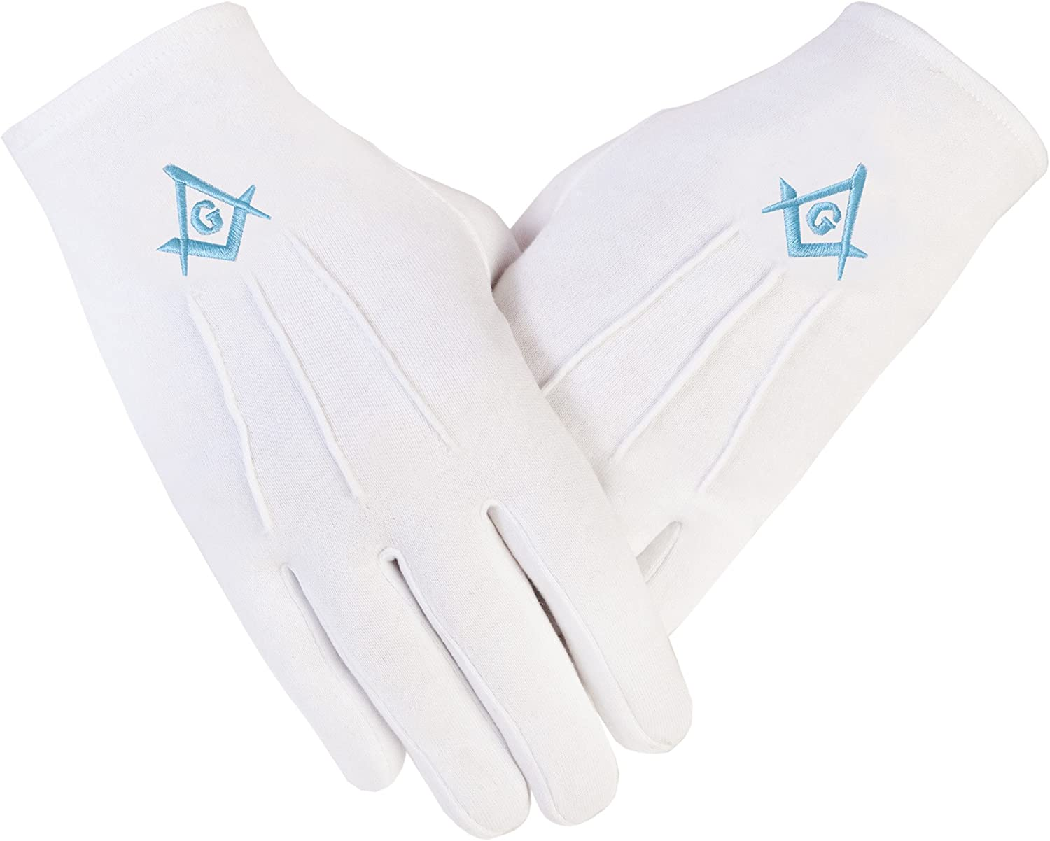 Freemasons Masonic - Guantes de algodón en T. Blue Square y Brújula (SC&G), color blanco: Amazon.es: Ropa y accesorios