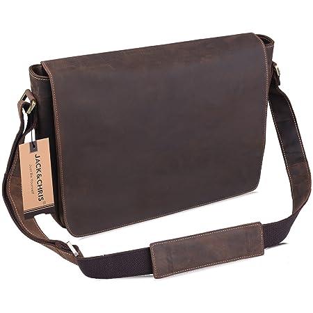 363a4755282a Jack Chris Men s Leather Messenger Bag Briefcase Laptop Bag Shoulder  Handbag Bag