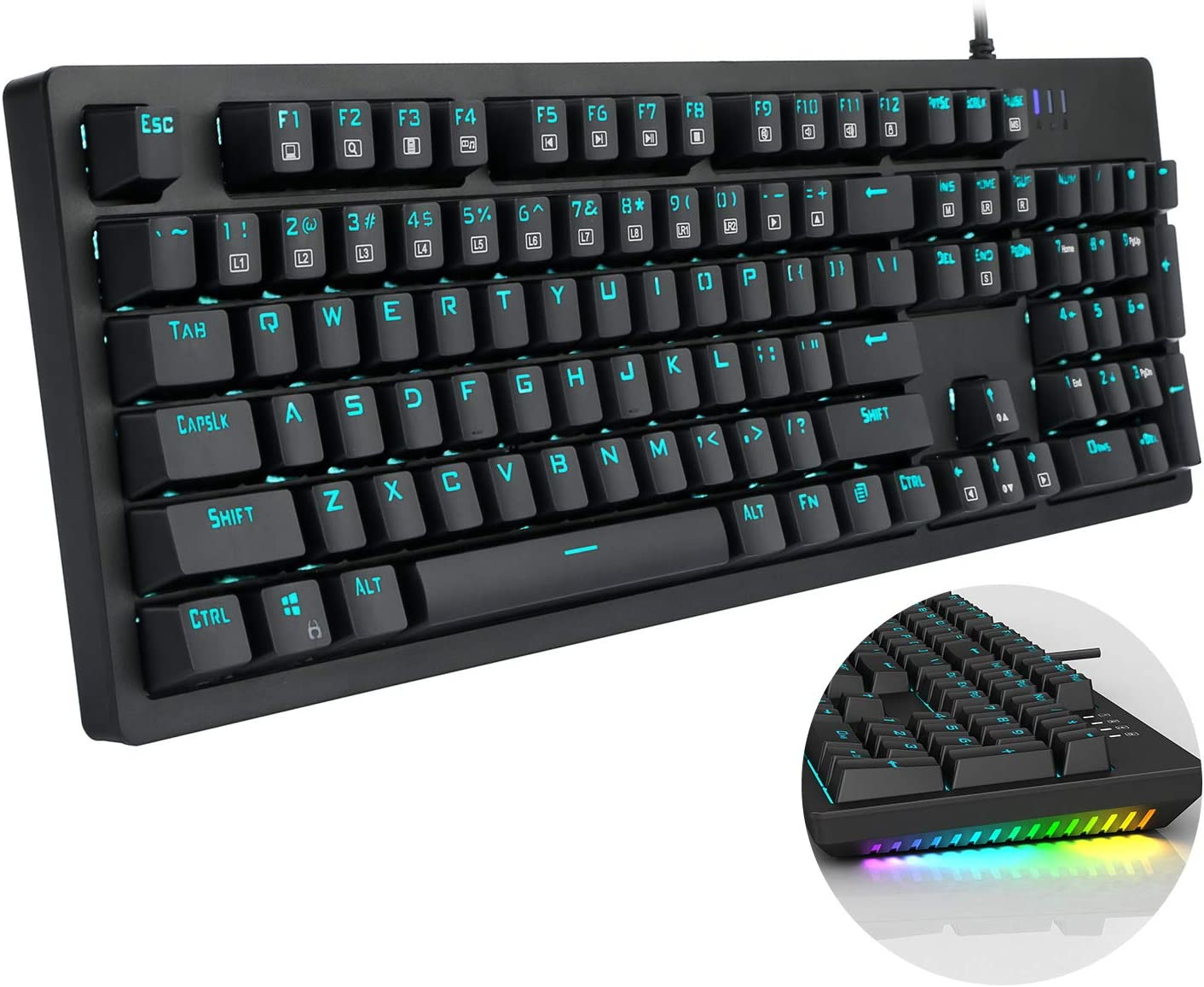 E-YOOSO Mechanical Keyboard Wired Gaming Keyboard with Blue Switches LED Backlit, 104 Keys N-Key Rollover Anti-Ghosting Computer Keyboard for PC Desktop Gamers, Black