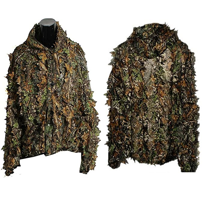 FENICAL 3D Leaf Camouflage Ghillie Suit Woodland Camo Hunting Jacket Trousers